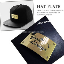 Custom gold metal hat plate/Beanie hats metal logo plates