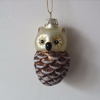 glass squirrel with pine cone christmas tree decoration