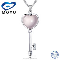 Wholesale heart and key pendant with indian rose quartz in key shape for women fast delivery