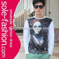 wholesale long sleeve 3d printing fashion 2013 men's t shirts