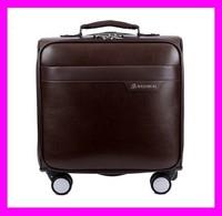 Unique design fashionable brown color pu leather men trolley luggage bag HD3369