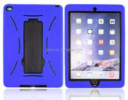 2015 New arrival high quality defender silicone back case for iPad Air 2/ iPad 6 case with kickstand