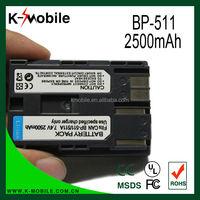 Hot Selling Li-ion Digital Camera BP-511 Battery for Canon EOS 20D 20Da 30D 40D 50D 5D D30 D60 G5 G6 Pro1 Pro70