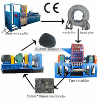 Used tyre recycled to rubber powder tyre shredder machine