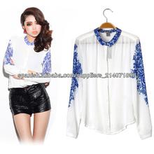 Estilo chino azul de la Mujer y Porcelana Blanca Vintagefloral impresos blusa de gasa camisa de manga larga