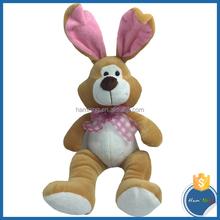 22cm Sitting plush animal design rabbit with bow tie