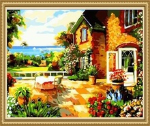 40*50cm rural scenery oil painting, diy painting by number