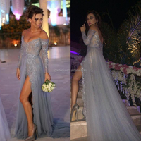 Sexy Off The Shoulder Tulle With Sequins Beaded Tops Lace Long Sleeve Grey Sexu Back Open Evening Dress