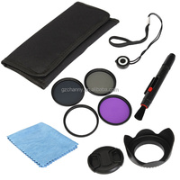 Professional UV FLD CPL ND4 58mm Circular Polarizer Protector Polarizing Filter Kit + Lens Hood Cap For Canon For Sony Camera