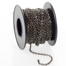 Cheap Chain Link Dog Kennels, Antiqued Brass Plated Flattened Cable Chain Spool, Footage, 1.9mm
