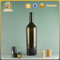2015 hot sale cheap 750ml red wine glass bottles taper shaped