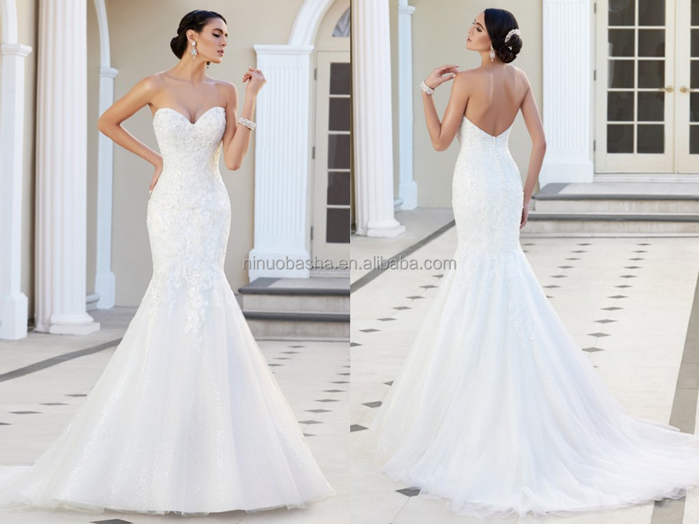 2015 Custom Fit Mermaid Wedding Dress Strapless Sweetheart Neckline ...
