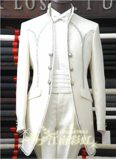 Free shipping ! Men's clothes brand fashion royal men's clothing the groom married set long design wedding dress / M-XXL