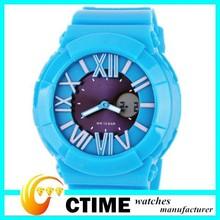 2014 Best Choice Wristwatches Manufacturer Blue Silicone Women's Watches