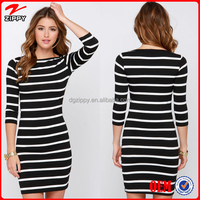 2015 ladies casual dresses vestidos casuales black and white stripe long dress