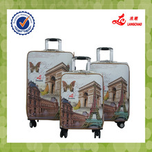 Tower Picture Painting Waterproof PU Leather Travel Luggage Suitcase