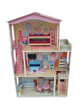 Hottest selling Children wooden dollhouse with doll furniture