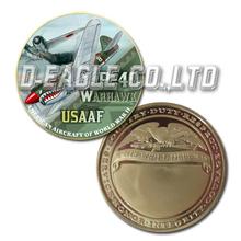 USAAF P-40 Warhawk Color Printed Gold Souvenir/ Custom Challenge Coin/ Custom Coin