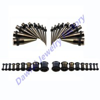 DAR-HS Wholesale Checkout 36pc Titanium Black Ear Stretching Taper & Single Flared Tunnel Piercing Earring Gauge Kit Jewelry Set