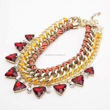 the new fahion chunky red diamond coronary acrylic jewelry necklace for wedding bridal