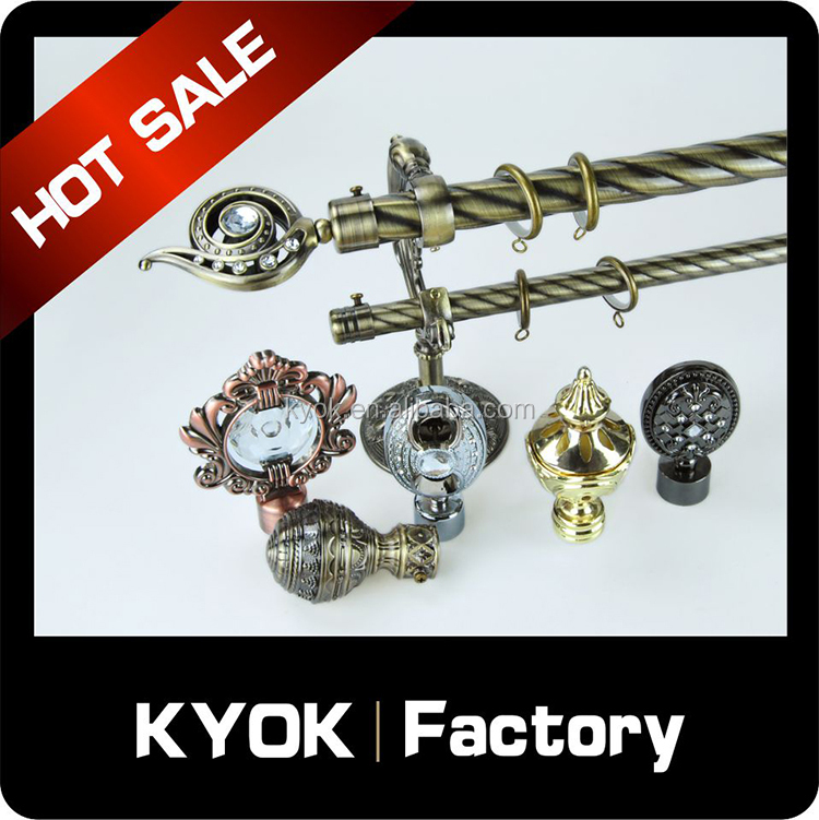 Kyok Decorative Metal Curtain Rod Set Pvc Package New Design 16 19mm Decorative Iron Curtain