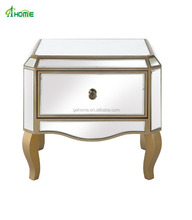 Fashion Mirror bedside / side table with narrow drawer in gold finish