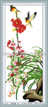 EMBROIDERY PATTERN CROSS STITCH WITH BIRD AND BLOOMING FLOWER, CROSS STITCH WALL PICTURE
