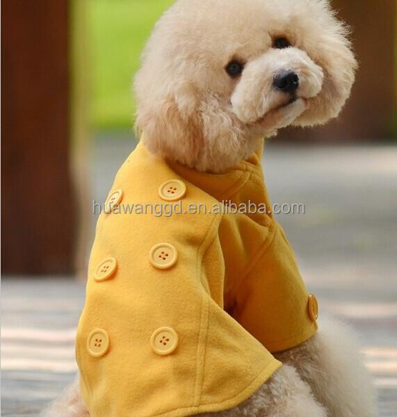 Modelli di abbigliamento per cani, qualità piacevole cappotto cane giallo vestito per stagione invernale
