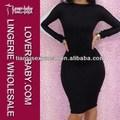 Completa garantido vestidos de noite branco / preto vestido de manga longa para venda