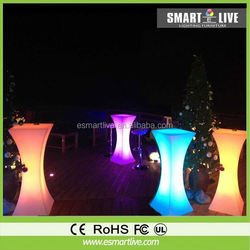 Hot sale glass top led bar table rechargeable battery led table bar
