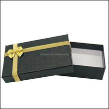 Manufactory Black paper cardboard Pendant jewelry box Gold bow tie