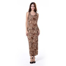 Sexy Women Crew Neck Leopard Print Party Tunic Skater Swing Dress Sundress