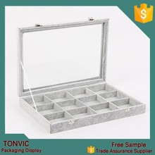 New arrival ! gray velvet 12 grid bracelet display packaging stand box with clear glass lid custom made