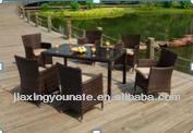 Ingarden Rattan Dining Table & 6 Armchairs . Bronze Weatherproof Wicker Weave