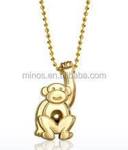 Chinese Monkey Pendant Wholesale, Little Signs Monkey In 14kt Yellow Gold