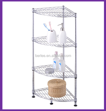 4 tier corner shelf ,chrome metal storage