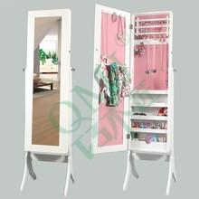 Over the door floor standing jewelry armoire mirror cabinet , white