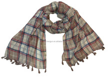 Spring and autumn thin plain woven soft triped printing scarf tassels