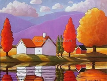 Houses and trees oil painting on canvas for sale canadian artist reproduce
