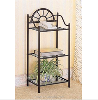 3 Tier Garden Wrought Iron Flower Shelf Pedestal Plant Pot Holder Stand