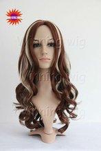 cheap mix color long style unique kanekalon synthetic hair wigs for sale
