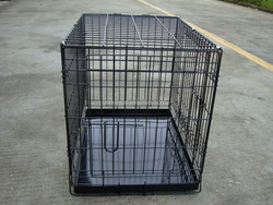 midwest folding dog cage with metal/plastic tray