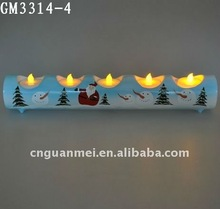 Hand painted long glass candle holder for home decoration