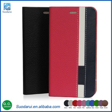 Fashion Assorted Dual Colors Design PU Leather Stand Flip Covers for Apple ipod touch 6 Stand Wallet Mobile Cover Case