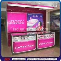 TSD-W1101 Custom high quality decoration cell phone store,mobile phone display counter,cell phone display showcase