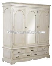 Antique European solid oak wood bedroom wardrobe