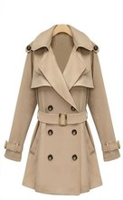 High Quality Womens Double-breasted Coat long Outwear Slim Fit Woman Trench Coat
