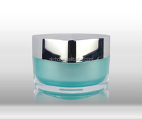 Triangle Shaped Plastic Cosmetic Container, Blue Colored Acrylic Cream Jar