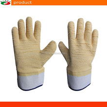 Safety Cuff Jersey Lined Crinkle Latex Gloves EN388/420 Safety Gloves Double Coated latex Gloves