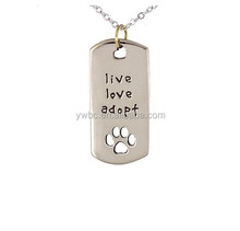 Rectangular Dog Tag Style Pendant Necklace with live love adopt and Cut Out Paw Print on Adjustable Chain